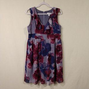 LOFT V Neck Dress with Ruffle